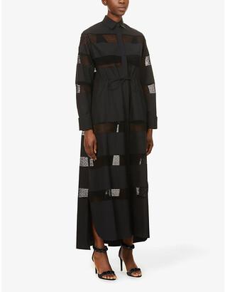 Azzedine Alaia Sheer-panelled cotton maxi dress
