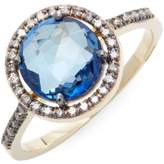 Suzanne Kalan Women's 0.25 TCW Champagne Diamond and Blue Topaz 14K Yellow Gold Ring