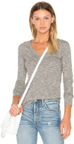 Bobi Mini Striped Jersey Long Sleeve V Neck Top