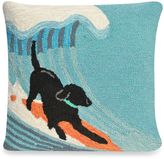 Liora Manné Frontporch Surfing Dog Square Throw Pillow in Ocean