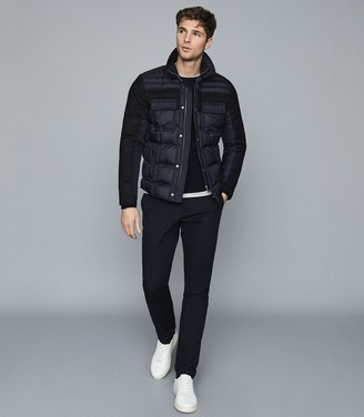 Reiss Barrett - Quilted Jacket With Contrast Sleeves in Navy