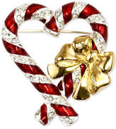 Charter Club Holiday Lane Two-Tone Pavandeacute; Candy Canes Brooch, Created for Macy's
