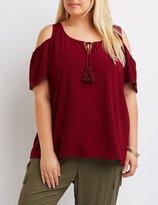 Charlotte Russe Plus Size Tassel-Tie Cold Shoulder Top