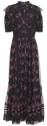 Valentino Lace-trimmed Printed Silk-chiffon Maxi Dress