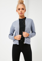 Missguided Petite Grey Jersey Bomber Jacket