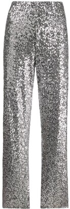Norma Kamali Striped-Side Sequin Trousers