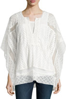 Joan Vass Embroidered Lace Caftan, White
