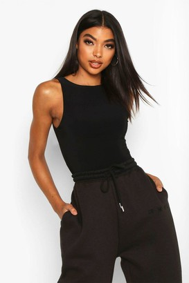 boohoo Tall Double Layer Slinky Racer Neck Bodysuit
