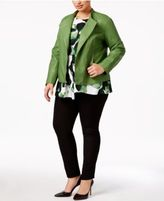 Alfani Plus Size Faux-Leather Peplum Jacket, Only at Macy's