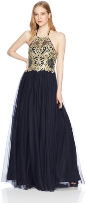 Blondie Nites Women's Long Illusion Halter Applique Ballgown