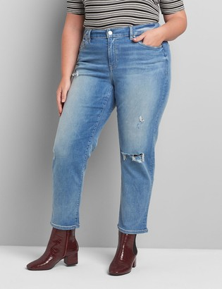 Lane Bryant Curvy Fit High-Rise Girlfriend Straight Jean - Light Wash