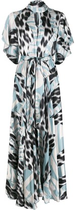 Just Cavalli High-Neck Graphic-Print Maxi Dress