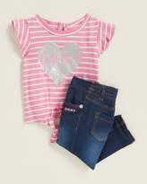 Dkny (Infant Girls) Two-Piece Striped Heart Logo Top & Jeans Set