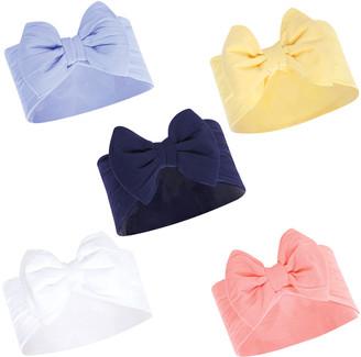 Hudson Baby Girls' Headbands Blue/Yellow - Blue Yellow Bow-Tie Headband - Set of Five