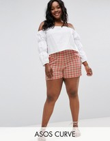 Asos High Waist Checked Shorts