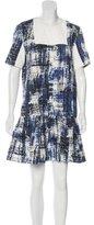 Sea Pleated Jacquard Dress