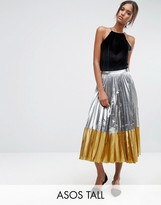 ASOS Tall ASOS TALL Pleated Midi Skirt In Metallic With Contrast Hem