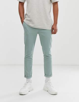 Asos Design DESIGN skinny cropped chinos in light green