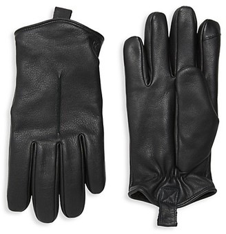 Saks Fifth Avenue Rugged Leather Tech Gloves