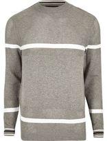 River Island Grey Knit Mesh Panel Stripe Jumper