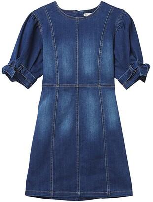 Habitual Mae Belted Sleeve Denim Dress (Big Kids) (Dark Stone) Girl's Dress