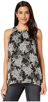 Vince Camuto Sleeveless Boudoir Botanical Blouse (Rich Black) Women's Clothing