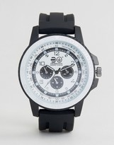 Crosshatch Black Watch With White Dial With Imitation Inner Dials