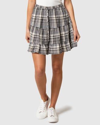 Forever New Selena Check Tiered Mini Skirt