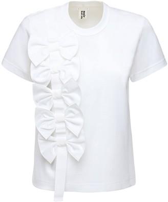 Noir Kei Ninomiya Cotton T-shirt W/ Bow Details
