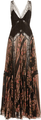 Etro Lace-Paneled Silk-Chiffon Maxi Dress