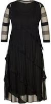 Chesca Sheer Stripe & Frill Trim Crush Pleat Dress