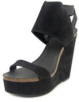 Vince Camuto Kresta Women Open Toe Suede Black Wedge Sandal.