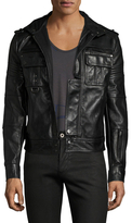 Diesel Black Gold Lybello Leather Solid Jacket