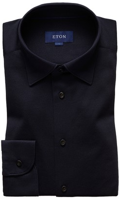 Eton Dark Blue Polo Shirt - Long Sleeved - Slim Fit
