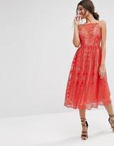 Asos Premium Occasion Midi Dress In Geo Lace