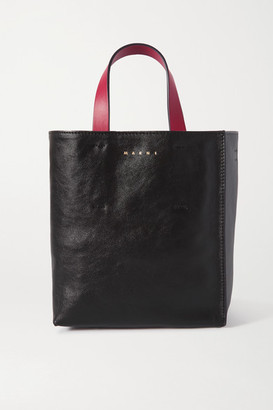 Marni Museo Mini Color-block Crinkled-leather Tote - Black