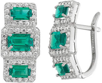 FINE JEWELRY Simulated Green Emerald Sterling Silver Rectangular Clip On Earrings