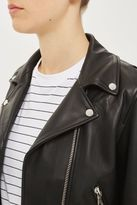 Boutique Belted leather biker jacket
