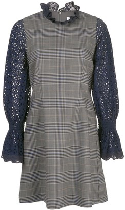 Sea contrasting sleeve checked dress