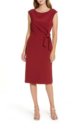 Tahari Cap Sleeve Crepe Sheath Dress