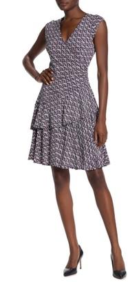 Robbie Bee Puff Jersey Geometric Print Wrap Dress