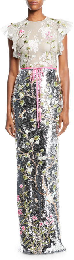 Monique Lhuillier Ruffled Cap-Sleeve Floral-Embroidered Tulle Bodice Sequin Column Gown