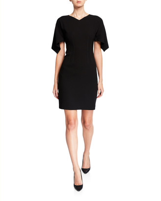 Elie Tahari Percy V-Neck Draped Sleeve Sheath Dress