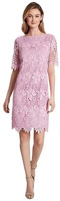 Tahari ASL Elbow Length Sleeve Sheath (Pink Gelato) Women's Dress