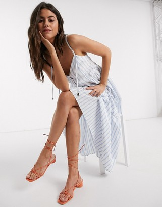 ASOS DESIGN button through tiered cotton poplin maxi dress in stripe