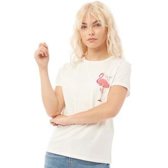 Jacqueline De Yong Womens Sulla Life Flamingo Print T-Shirt Cloud Dancer/Flamingo