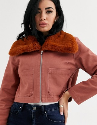 ASOS DESIGN twill cropped shacket with fur collar