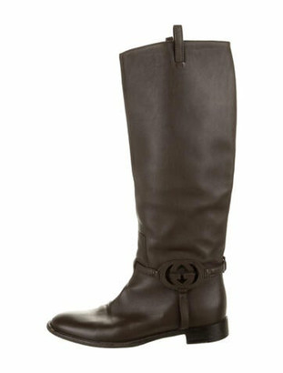 Gucci Interlocking G Logo Leather Riding Boots Brown