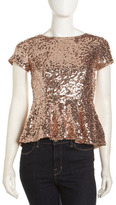 Casual Couture Sequin Peplum Top, Rose Gold