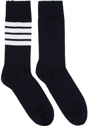 Thom Browne Navy 4-Bar Mid-Calf Socks